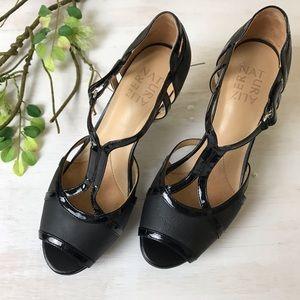 Naturalizer Black Peep Toe Heels Size 7.5 Wide